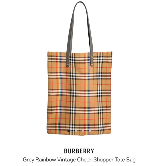 Burberry Handbags - Burberry • Rainbow Vintage Check Shopper Tote Bag